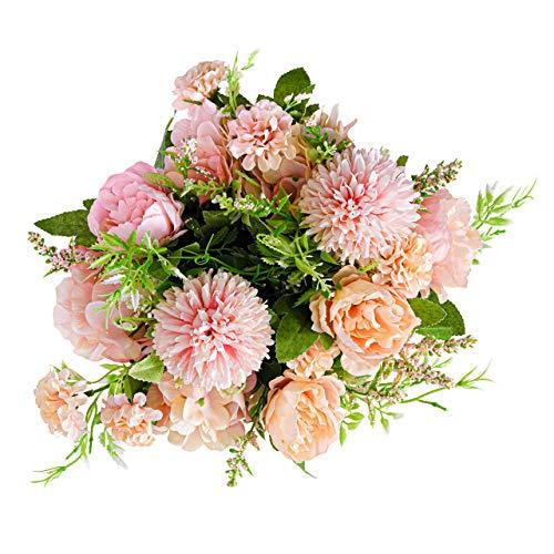 YANGMAN-ART Fleurs Artificielles, Intérieur Pivoine Soie Fleurs Bouquet pour Décoration, Utiliser Ces Faux Fleurs dans Un Vase Décor De Mariage Table À Manger Et De Noël, Rose