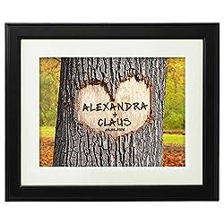 Herz im Baum – Herbst – Personalisiert mit Namen und Datum – Druck im Bilderrahmen – Geschenke für Paare zur Hochzeit – Geschenk-Idee für Freund oder Freundin – groß: 45 x 55 cm