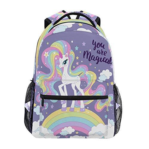 Lindo unicornio Love Hearts Mochilas Nube Luna Estrellas Portátil Bolsa Libreta Casual Extra Durable Mochila Ligero Viaje Deportes Día Pack para Hombres Mujeres