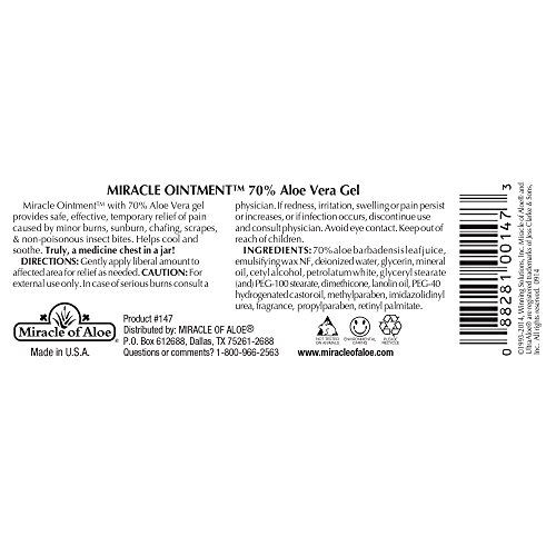 Miracle Ointment | Aloe Vera First Aid Cream with 70% UltraAloe Pure Aloe Vera Gel | 2 ounce jar