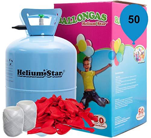 Helium Ballongas Set: 50 rote Herzluftballons Ø 25cm + Polyband, HeliumStar® Einwegflasche XXL Helium Gas für bis zu 50 Ballons EINWEG