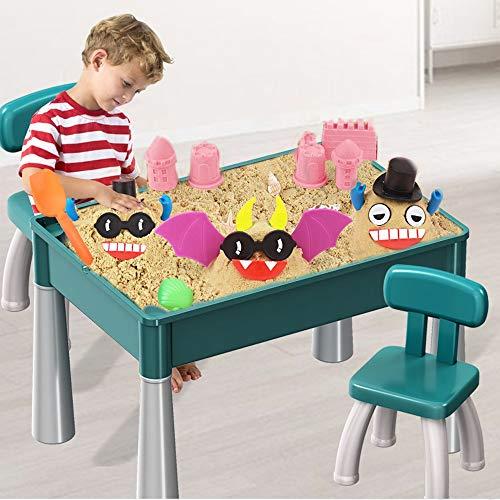 LiChaoWen Kinder Multi Aktivitätstabelle Kinder Kunststoff-Spieltisch Raum Lehm Sand Tabelle for Privatanwender Spielplatz (Color : Green, Size : 41.5 x 60.5 x 43.5cm)