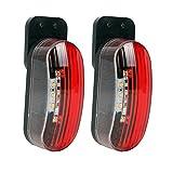 Luz de gálibo led de 12 V, juego de 2 luces de señalización lateral en rojo/blanco, 98 x 42 x 38 mm, 12/24 voltios, 2 vatios  led para autocaravana, caravana y remolque