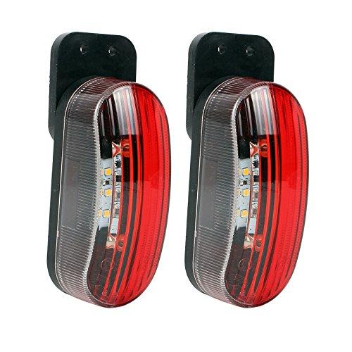 Umrissleuchte LED 12v Begrenzungsleuchte 2er Set rot/weiß 98x42x38 mm, 12/24 Volt, 2 Watt, 6 LED für Wohnmobil, Wohnwagen und Anhänger