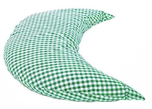 Mond 50cm Das Halbmond Kissen mit EPS-Perlen grün-weiß| kleines Schlafkissen, Reise- Kopfkissen, Kuschelkissen, Lesekissen,