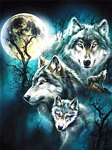 5D Diamond Painting Kits, Moonlight Wolf Howling DIY Diamond Painting by Number Full Drill Cross Stitch Mosaic Rhinestone Pictures by Numbers - No Frame 12 x 16 inch