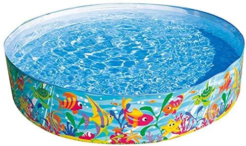 Folding Schwimmbad, Außenpool, Badewanne Cartoon Bilder zusammenklappbarer beweglicher Hart-PVC-Pool Massively Multiplayer Hartplastik Planschbecken 183 * 38CM,Blue