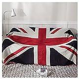 SCIDS Wohn Kuscheldecken Vintage Nostalgische Britische Flagge Groß Vier Jahreszeiten Decke Schlafdecke Doppelseitige Sofadecke Tagesdecke Gewebte Mit Quasten Hochwertiger 120 X 220 cm