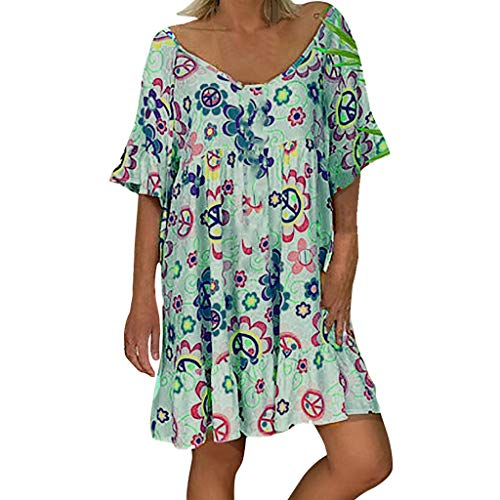 GOKOMO Damen Kleid Langarm V-Ausschnitt A-Linie Kurze Mini Kleider Lose Swing T-Shirt Kleid Blusen Tunika Kurzarm(Grün,X-Large)