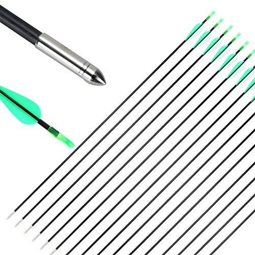 MorNon 25 Stücke 30 Zoll Pfeile für Recurvebogen Bogenschießen Bogenpfeile Carbon Fiberglas Pfeile Shalf ø 6mm für Recurve Bogen