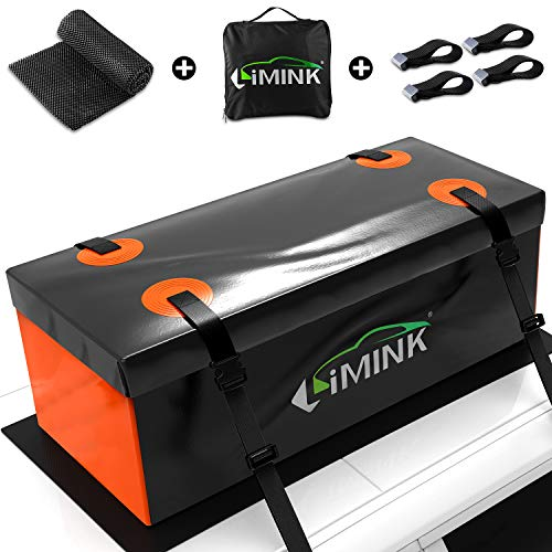 LIMINK 15 Cubic Feet Rooftop Cargo Carrier Bag Vehicle Hitch Cargo Carriers Bag Soft-Shell 100% Waterproof Luggage Carrier Bag for All Car's Rear or Roof (48' 23' 23')