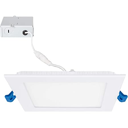 Maxxima 6 In Slim Led Downlight Canless Square Dimmable Flat Panel Light Fixture Recessed Retrofit 1050 Lumens Daylight 5000k 14 Watt Junction Box Included Energy Star