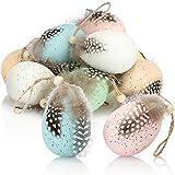 com-four® 12x Uova di Pasqua da Appendere - Decorazione Pasquale con Ottica a Uovo di quaglia - Uovo di Pasqua in plastica con Molla (Set06 - Multicolore/Colore Naturale - Opaco)