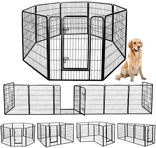 ペットフェンス 中大型犬用? ペットケージ パネル8枚 ペットサークル 四角ポール 折り畳み式 ペットフェンス ゲージ サークル トレーニングサークル スチール製 複数の組み合わせ 室内室外兼用 犬小屋 ペット用品