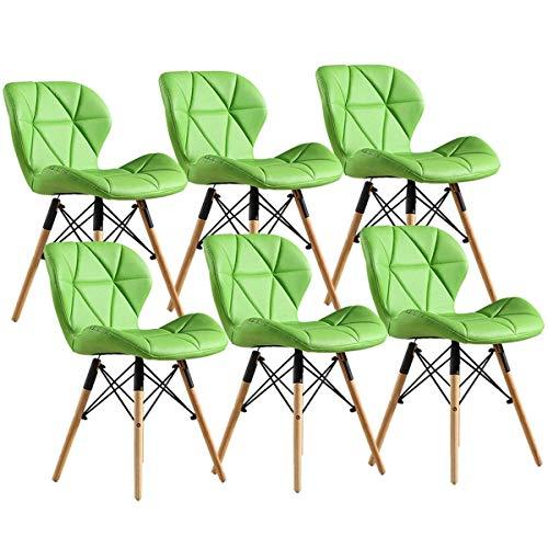 HYZXK Juego de 6 sillas de Comedor Retro Patas de Madera Maciza Natural Respaldo de Mariposa Asiento Acolchado Silla de Cocina para Comedor de Oficina (Color: Verde)