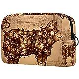 Bolsa de maquillaje Steampunk Pig para viajes, práctica bolsa de cosméticos, impermeable, pequeña bolsa de aseo para mujeres y niñas