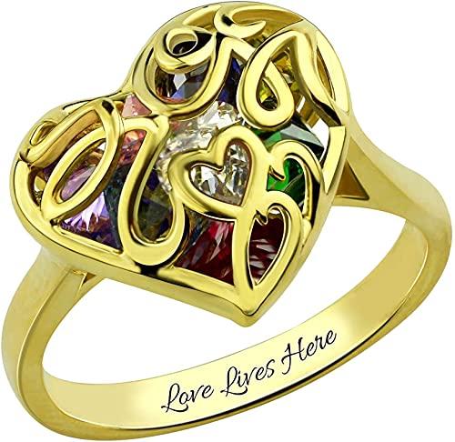 Anillo de jaula en forma de corazón de madre personalizada MSYOU de plata de ley 925 con piedra de nacimiento chapado en platino Plata de ley 925 para mujer Oro