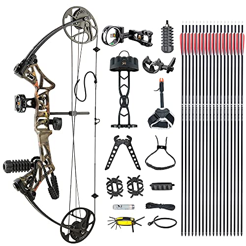 """DJH Archery Compound Bow Package for Adults and Teens, 19""""-30"""" Draw Length,19-70Lbs Draw Weight,320fps IBO,Gordon Composites Limbs,Limbs Made in USA (Forest)"""