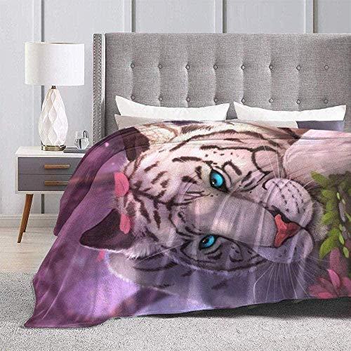 DWgatan Kuscheldecke Decke,Easy Care Super Warm Fleece Blanke Bed Throw,Blue Eyes Tiger Printed Bequeme Fleece-Decke Fit Couch BedSofa Chair-60 X50 (150x130cm)