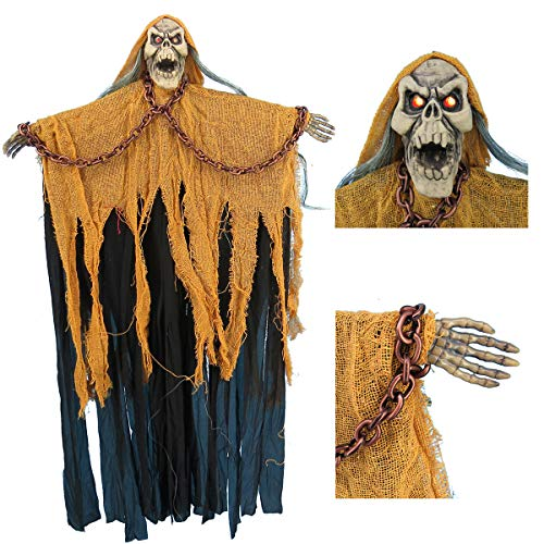 Halloween Prop Grim Reaper with Fashing Red Eyes and Loudly Haunted Sounds