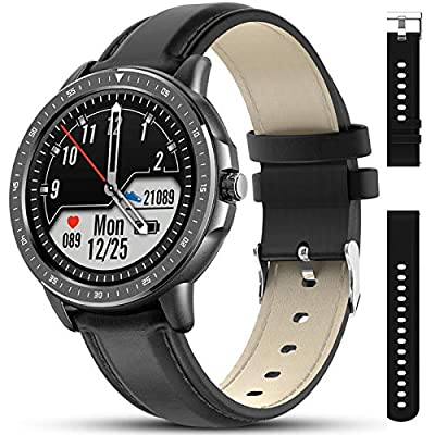 AMATAGE Smart Watch for Men Android Phones iPhone, Fitness Tracker Watch with Heart Rate and Blood Pressure Monitor, Waterproof Activity Fitness Tracker with 23 Sport Modes, 1 Extra Band