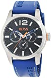 Hugo Boss Orange Paris Herren-Armbanduhr Quartz Analog mit blauem Silikon Armband 1513250
