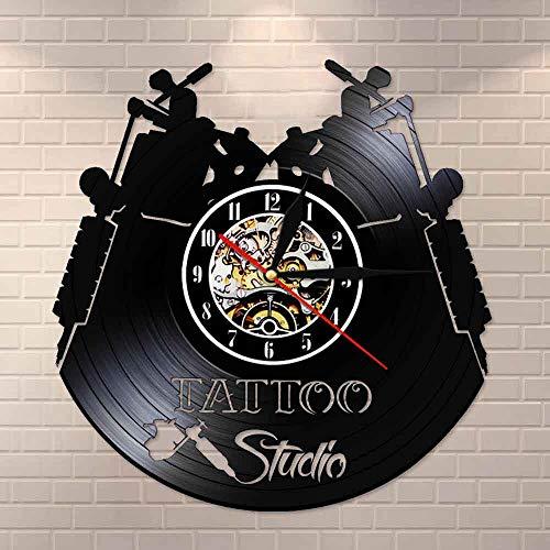 BFMBCHDJ Tattoo Studio Logo Business Zeichen Vintage Vinyl Schallplatte Wanduhr Tattoo Salon Einweihung Hängende Stille Uhr Tätowierer Geschenk Keine LED 12 Zoll