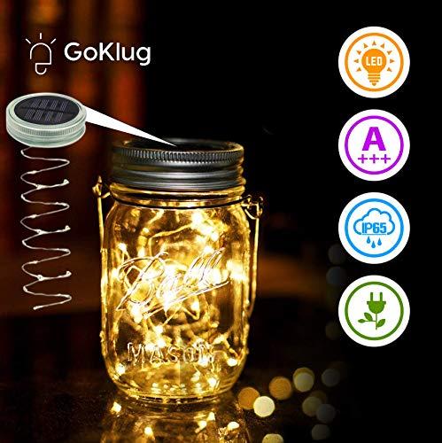 Mason Jar Licht, GoKlug Solar Laterne 20 LEDs balkon Deko Lichterkett Deco Glas Solar Hängeleuchte Glas Solarlampen für Außen Deko Tischleuchte für...