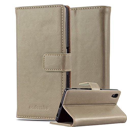 Cadorabo Hülle für Sony Xperia Z5 in Cappuccino BRAUN – Handyhülle mit Magnetverschluss, Standfunktion & Kartenfach – Hülle Cover Schutzhülle Etui Tasche Book Klapp Style