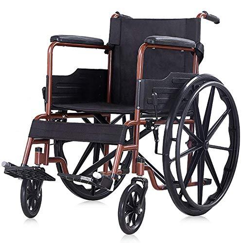 Y-L Ouderen Opvouwbare Rolstoel Lichtgewicht Kruiwagen Multi-Purpose Comfortabele slijtvaste Draagbare Rolstoelen Geschikt voor Ouderen Gehandicapten, Geel