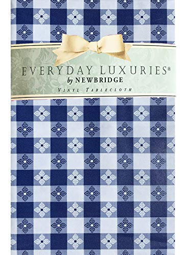 """Newbridge Bistro Tavern Check Vinyl Flannel Backed Tablecloth - Cafe Checkered Indoor/Outdoor Vinyl Picnic, BBQ and Dining Tablecloth - 60"""" x 102"""" Oblong/Rectangle, Blue"""
