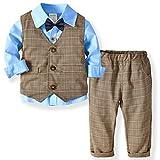 ZOEREA 3 Piezas Trajes de Bebés Niños Chaleco + Camisa con Pajarita + Pantalones Niño Caballeros Bautismo Boda Bautizo Patrón de Cuadrícula Marrón Conjuntos de Ropa Azul, Etiqueta 110
