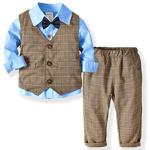 ZOEREA Baby Jungen Kleidungsset Shirt + Weste + Hose Baby Fliege Braun Anzug für Baby Geburtstagsparty Kleid Blue,120