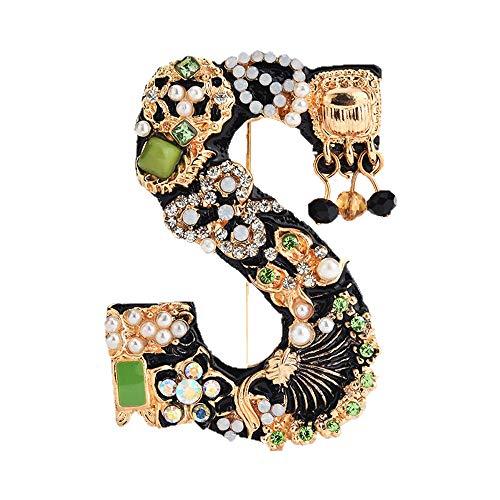 Spilla dell'alfabeto della perla di cristallo,Spilla con lettera iniziale di strass,Smalto placcato oro,Gioielli colorati dell'alfabeto,Design personalizzato,per vestiti cappelli calze di Natale