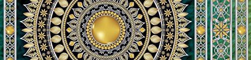 FORWALL Fototapete Küche Vlies Tapete Golden Mandala in Smaragd Wanddeko VEK (250cm. x 60cm.) AMF10121VEK Mandala Indien Indisch Orient orientalisch Gold