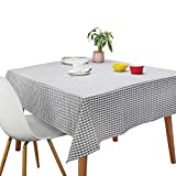 Tablecloths, Rectangle Vintage Table Covers Pure Cotton Gingham Tablecloths Oversized Christmas Holiday Home Decorative Checkered Plaid Table Cloths for Everyday Dinner (Gray, 60 X 84 inch)