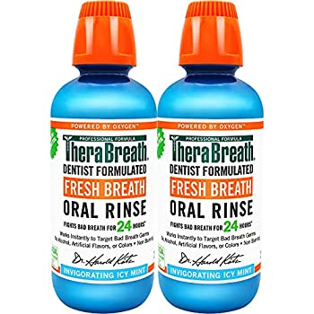 TheraBreath Fresh Breath Dentist Formulated 24-Hour Oral Rinse Icy Mint 16 Ounce  Pack of 2