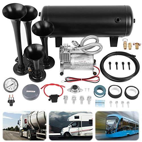 Ambienceo Loud 150 dB Black Train Horn Kit for Truck, Car, Semi | 4 Trumpet Train Air Horn Kit | 1.5 Gallon Tank | 150 PSI Heavy Duty Compressor