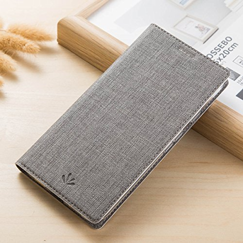Capa para ZenFone 4 ZE554KL, Shunda, fina, de couro PU, carteira, suporte para cartão de crédito, função de suporte, capa protetora de TPU macia para ASUS ZenFone 4 ZE554KL - Cinza