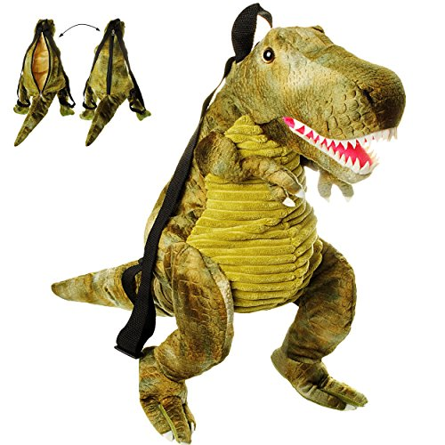 alles-meine.de GmbH 3-D Rucksack & Kuscheltier - XL groß -  Dinosaurier - Tyrannosaurus Rex - grün  - Plüsch Kinderrucksack / Plüschtier - für Kinder & Erwachsene - Kindergarte..