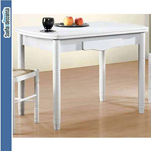Sueña y Descansa Mesa Libro Blanca 90 x 40 cm Extensible 90x 80 cm