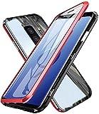 Funda para Samsung Galaxy S9 Plus Magnetica Adsorption Carcasa 360 Grados Frente y Parte Posterior Cuerpo Completo Transparente Vidrio Templado Protección Metal Choque Cover Case - Rojo
