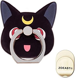 ZOEAST(TM) Phone Ring Grip Sailor Moon Black White Cat Kitty Universal 360° Adjustable Holder Case Stand Stent Mount Kickstand Compatible all iPhones Samsung Galaxy Android Pad Tablet (Black Moon Cat)