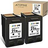 ATOPINK Cartucho de tinta remanufacturado 21XL compatible con HP 21XL para HP DeskJet 1415 3910 D2330 F2110 F4135 D1568 OfficeJet 4315 J3635 J5520 4312 4319 PSC 1410v 10xii. (2 negros).