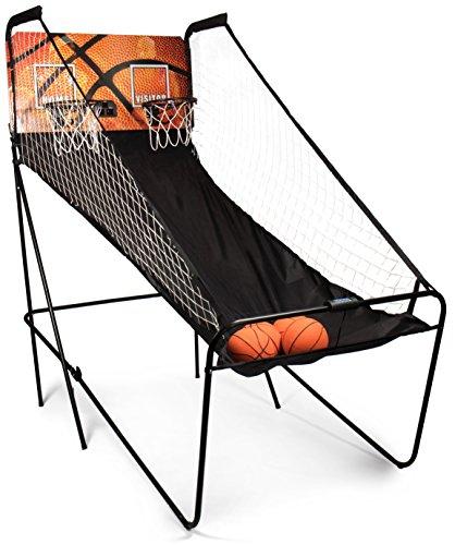 SportPlus Basketball Shoot Out, Basketballspiel inkl. 4 kleine Basketbälle & Pumpe, Punktezähler, digitales Display, 8 Spieleinstellungen, Basketball Arcade Game für die ganze Familie