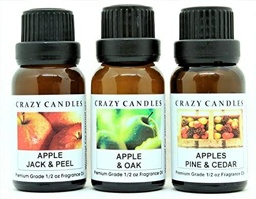 3 Bottles Set, 1 Apple Jack & Peel, 1 Apple & Oak, 1 Apples Pine & Cedar 1/2 Fl Oz Each (15ml) Premium Grade Scented Fragrance Oils by Crazy Candles