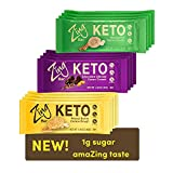 Zing Keto Low Carb Protein Bar | Keto Variety Pack, 12 Count | 3 Amazing Flavors | 7-9g Protein, 3g Net Carbs, 1g Sugar | Vegan, Gluten-Free, No Added Sugar | Created by Professional Nutritionists
