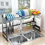 "Over Sink(32"") Dish Drying Rack, 2 Cutlery Holders Drainer Shelf for Kitchen Supplies Storage Counter Organizer Stainless Steel Display- Kitchen Space Save Must Have (Sink size ≤ 32 1/2 inch, black)"