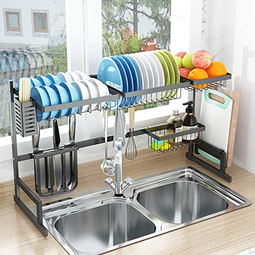 "Over Sink32"" Dish Drying Rack 2 Cutlery Holders Drainer Shelf for Kitchen Supplies Storage Counter Organizer Stainless Steel Display Kitchen Space Save Must Have Sink size ≤ 32 1/2 inch black"