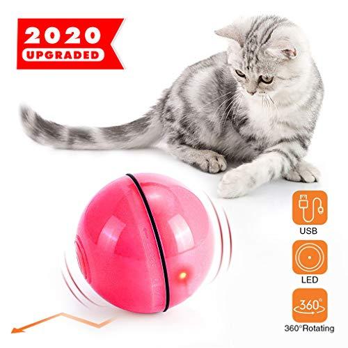 Interaktives Katzenspielzeug Ball mit LED-Licht, Katzenspielzeug Elektrische Rotierende Katze Ball wiederaufladbares USB-Katzenspielzeug, zur Stimulierung des Jagdtriebs Lustiges Jäger-Spielzeug(Rosa)